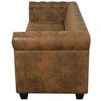 Chesterfield Sofa 3-Seater Artificial Leather Brown Kings Warehouse