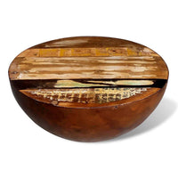 Coffee Table Bowl-shaped with Steel Base Solid Reclaimed Wood Kings Warehouse