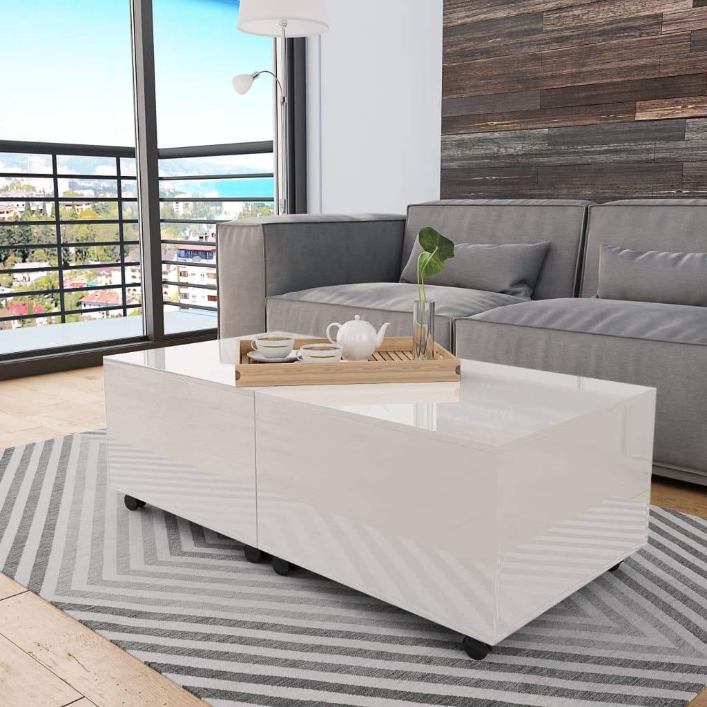 Coffee Table High Gloss White 120x60x35 cm Kings Warehouse