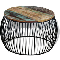 Coffee Table Round Solid Reclaimed Wood 68x43 cm Kings Warehouse