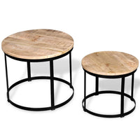 Coffee Table Set 2 Pieces Rough Mango Wood Round 40/50 cm Kings Warehouse