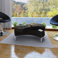 Coffee Table Shape-Adjustable High Gloss Black Kings Warehouse