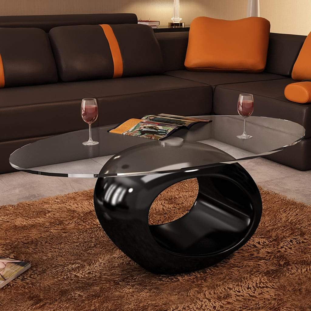 Coffee Table with Oval Glass Top High Gloss Black Kings Warehouse