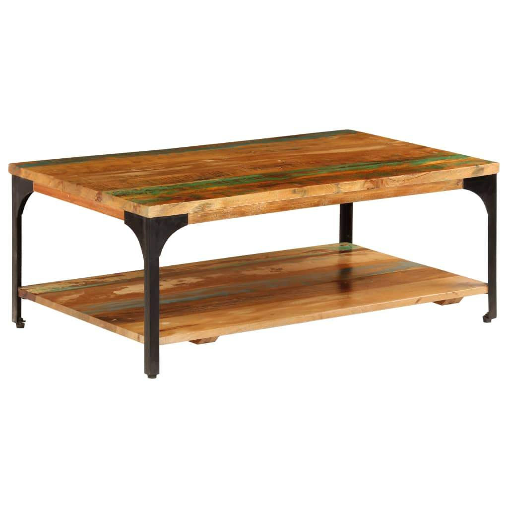 Coffee Table with Shelf 100x60x35 cm Solid Reclaimed Wood Kings Warehouse