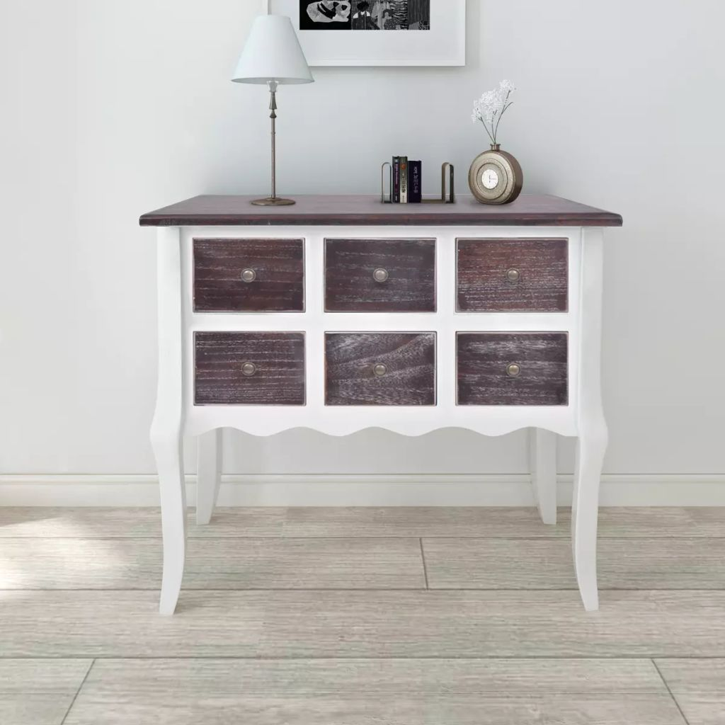 Console Cabinet 6 Drawers Brown and White Wood Kings Warehouse