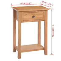Console Table 50x32x75 cm Solid Oak Wood FALSE Kings Warehouse