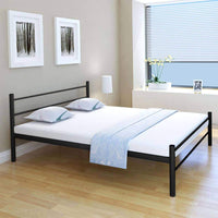 Coombe Bed Frame Black Metal Queen Size Kings Warehouse Default Title