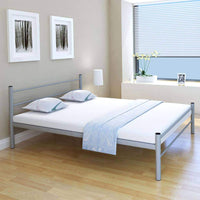Coombe Bed Frame Grey Metal Queen Size