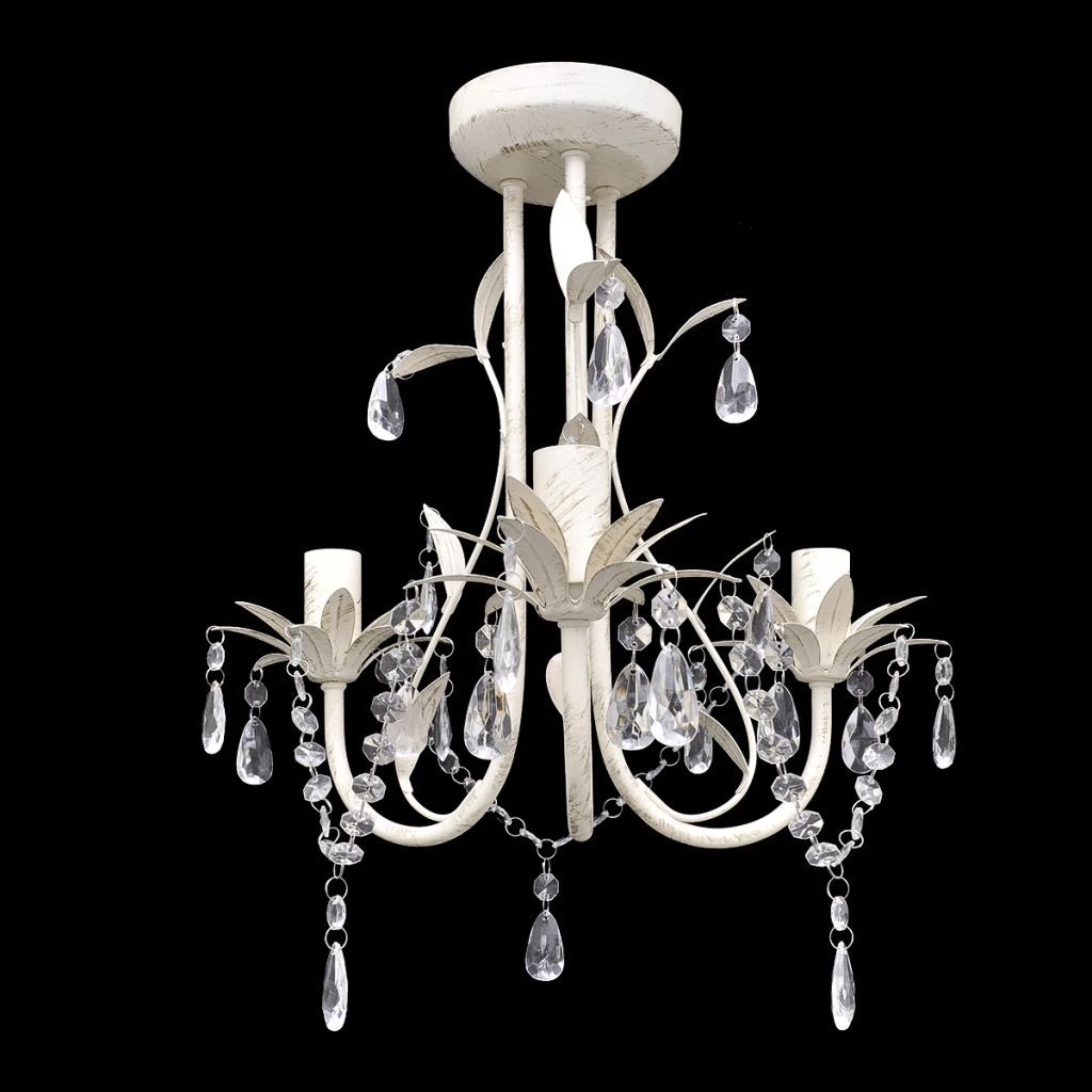 Crystal Pendant Ceiling Lamp Chandelier Elegant White Kings Warehouse