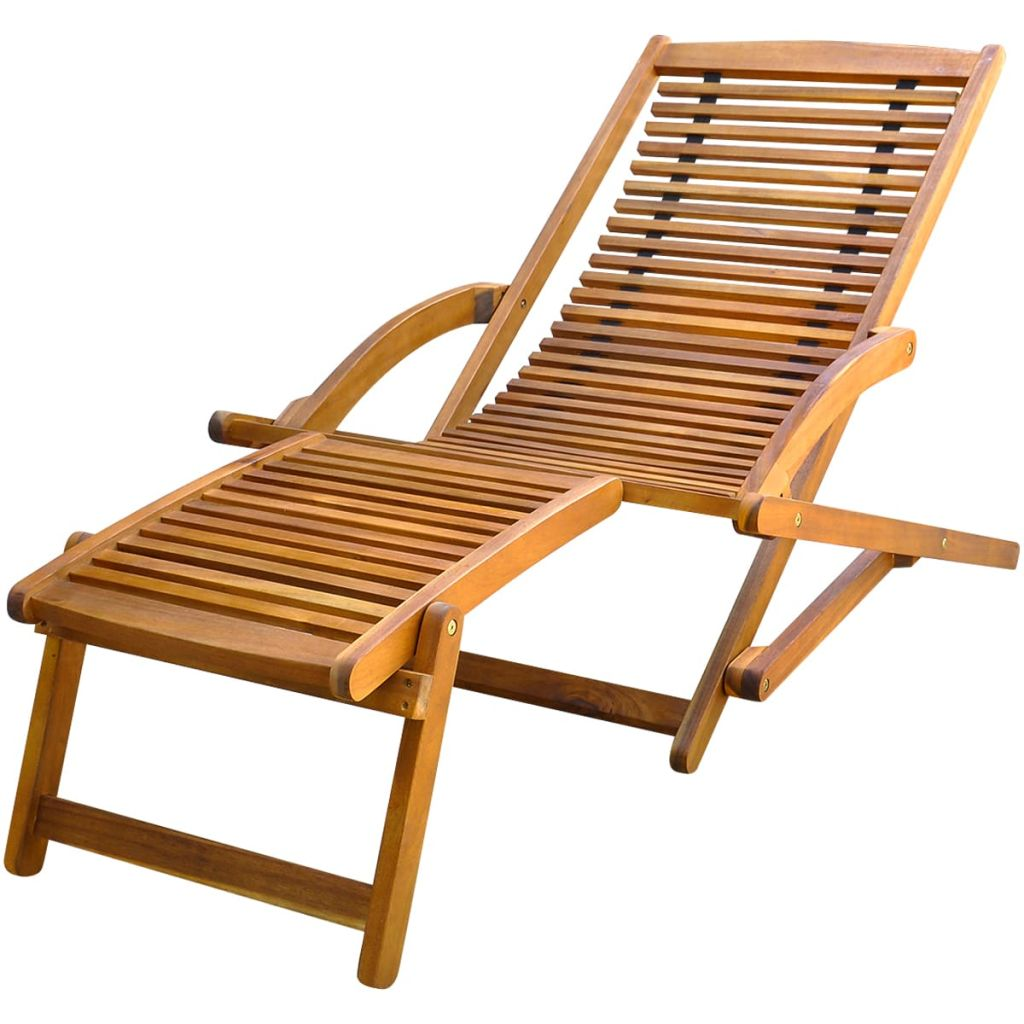 Deck Chair with Footrest Solid Acacia Wood Kings Warehouse