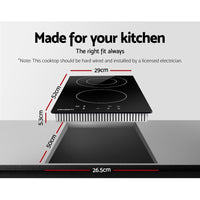 Devanti Electric Ceramic Cooktop 30cm Kitchen Cooker Cook Top Hob Touch Control 3-Zones Kings Warehouse