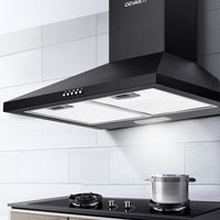 Devanti Pyramid Range Hood Rangehood 600mm 60cm Kitchen Canopy Black Kitchen Appliances Kings Warehouse