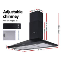 Devanti Range Hood Rangehood 90cm 900mm Kitchen Canopy LED Light Wall Mount Black Kitchen Appliances Kings Warehouse