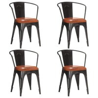 Dining Chairs 4 pcs Brown Real Leather Kings Warehouse