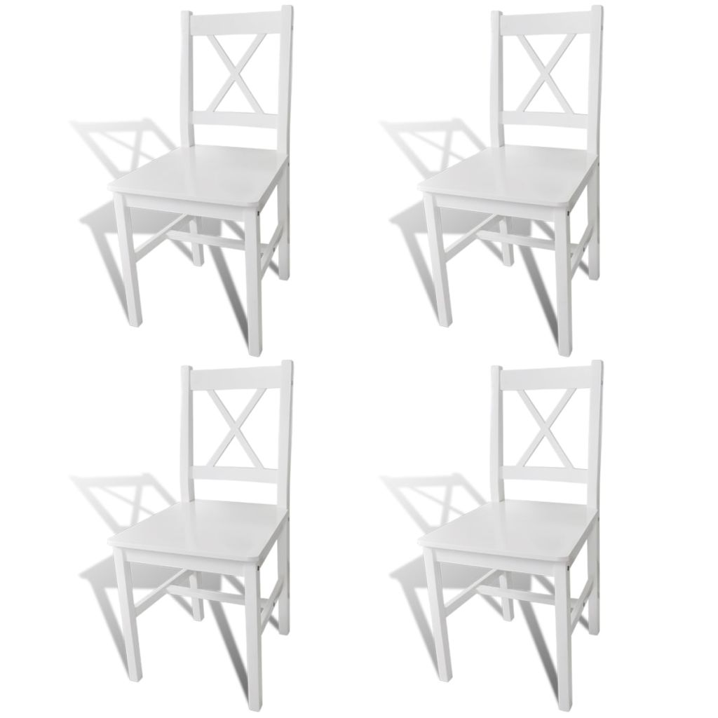 Dining Chairs 4 pcs White Pinewood Kings Warehouse