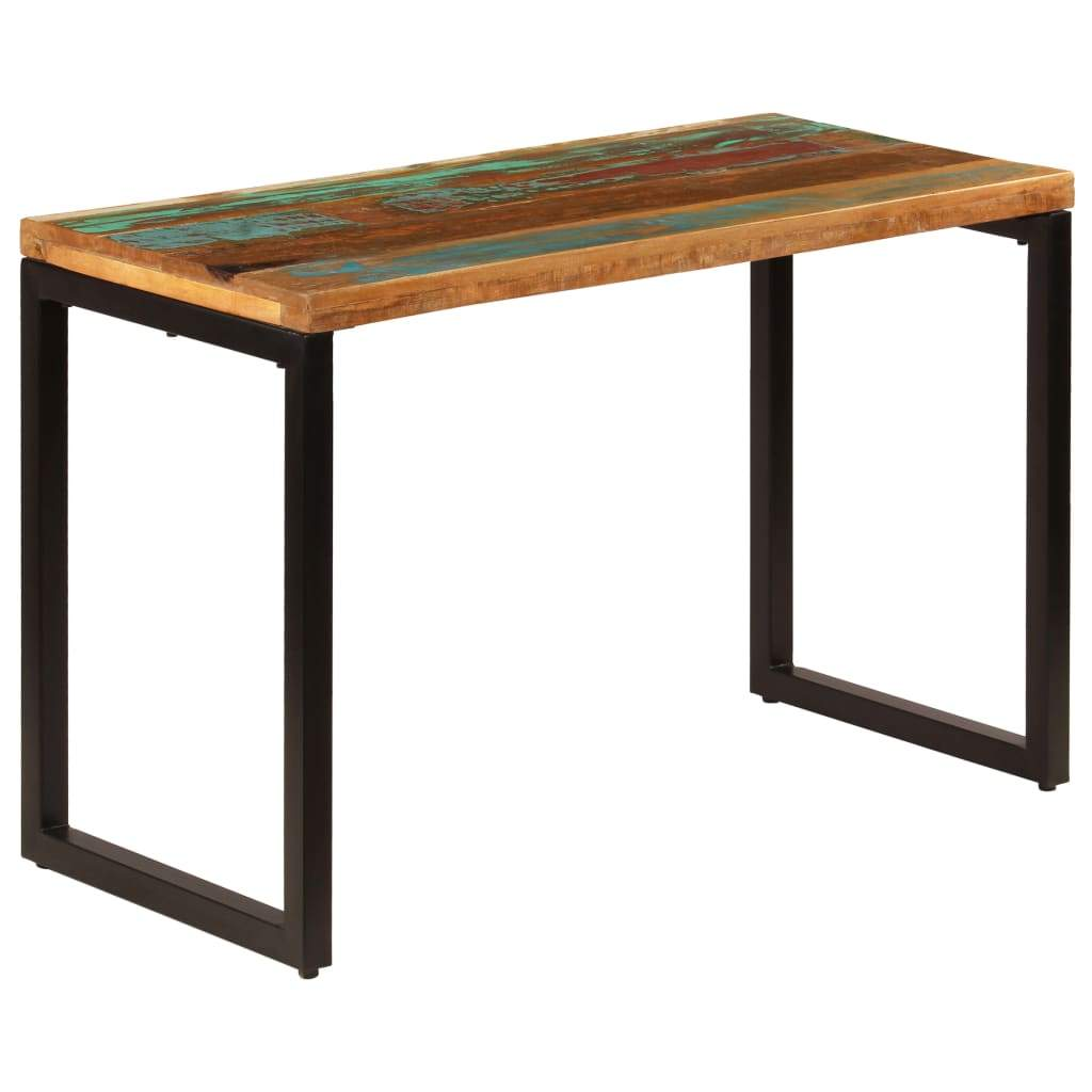 Dining Table 115x55x76 cm Solid Reclaimed Wood and Steel Kings Warehouse