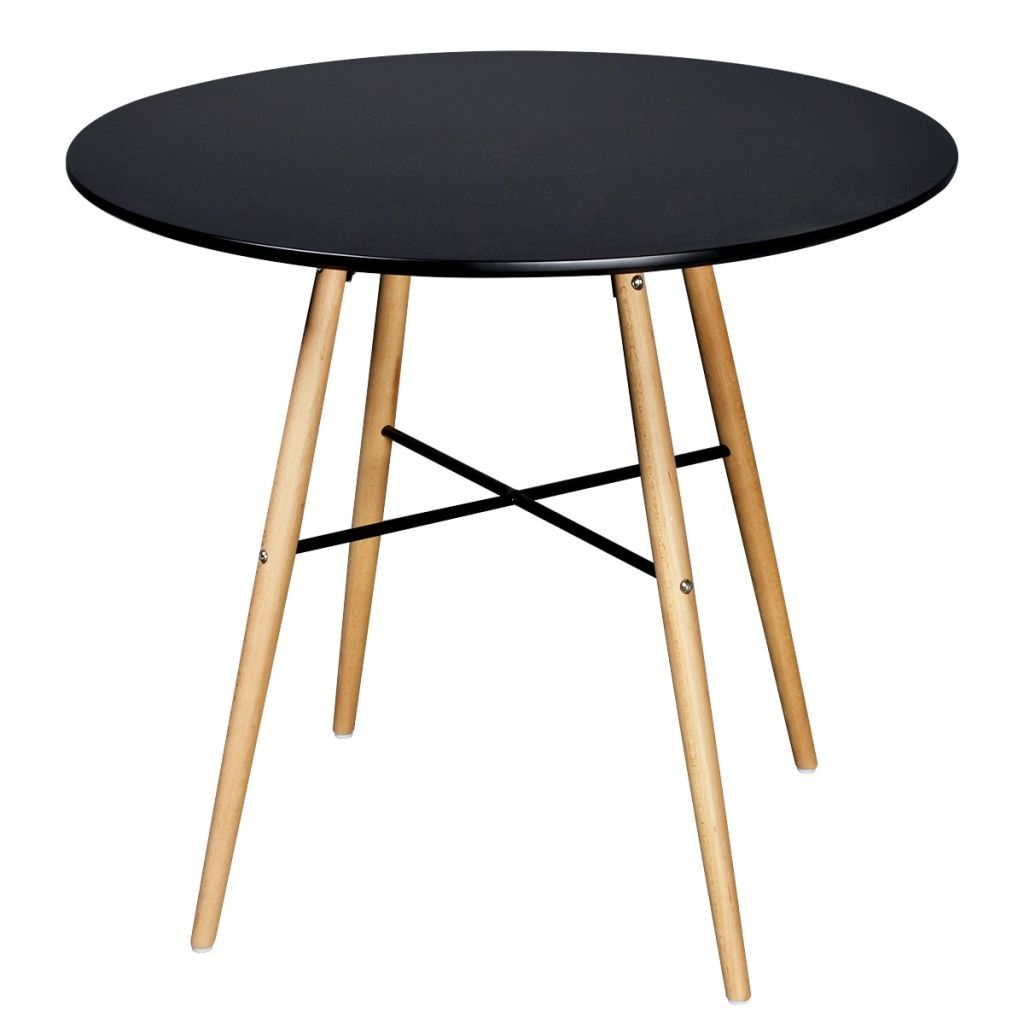 Dining Table MDF Round Black Kings Warehouse