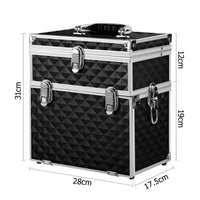Embellir Portable Cosmetic Beauty Makeup Carry Case with Mirror - Diamond Black Kings Warehouse