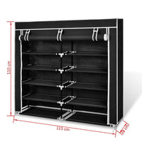 Fabric Shoe Cabinet with Cover 115 x 28 x 110 cm Black Kings Warehouse