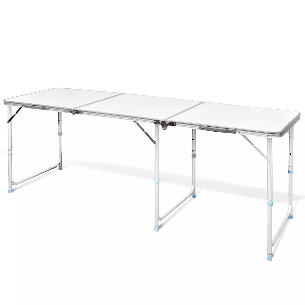 Foldable Camping Table Height Adjustable Aluminium 180 x 60 cm Kings Warehouse
