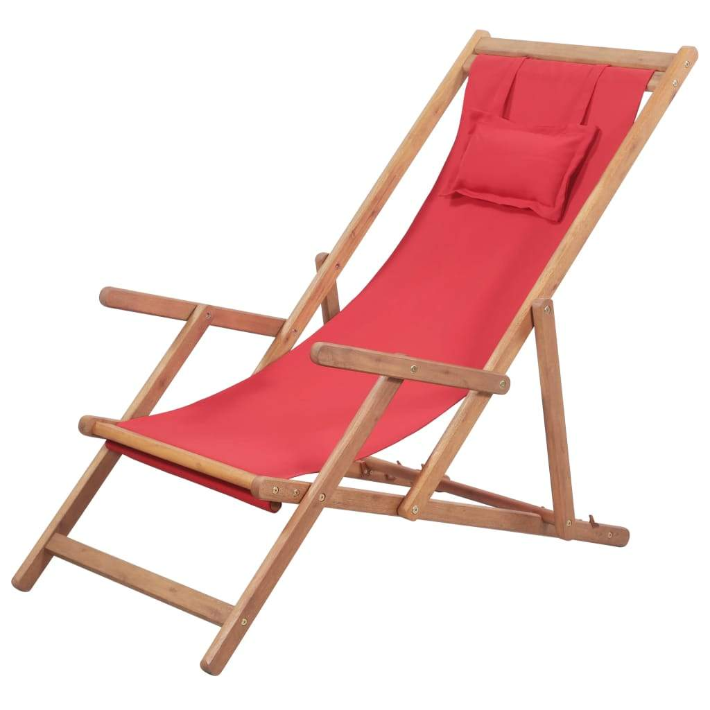 Folding Beach Chair Fabric and Wooden Frame Red Kings Warehouse