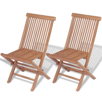Folding Garden Chairs 2 pcs Solid Teak Wood
