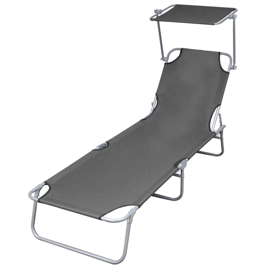 Folding Sun Lounger with Canopy Steel Grey Kings Warehouse