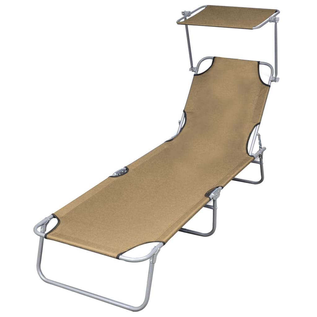 Folding Sun Lounger with Canopy Steel Taupe Kings Warehouse