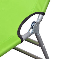 Folding Sun Lounger with Head Cushion Powder-coated Steel Green Kings Warehouse