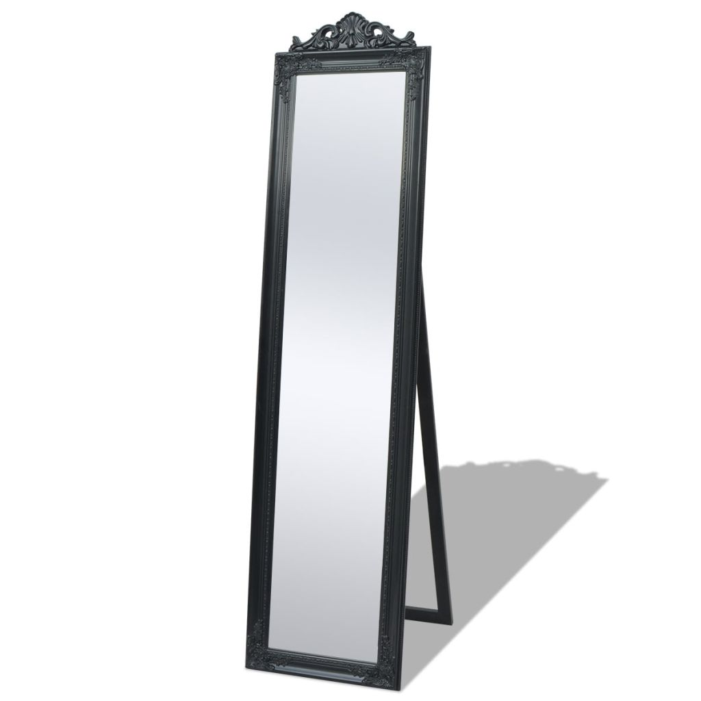 Free-Standing Mirror Baroque Style 160x40 cm Black Kings Warehouse