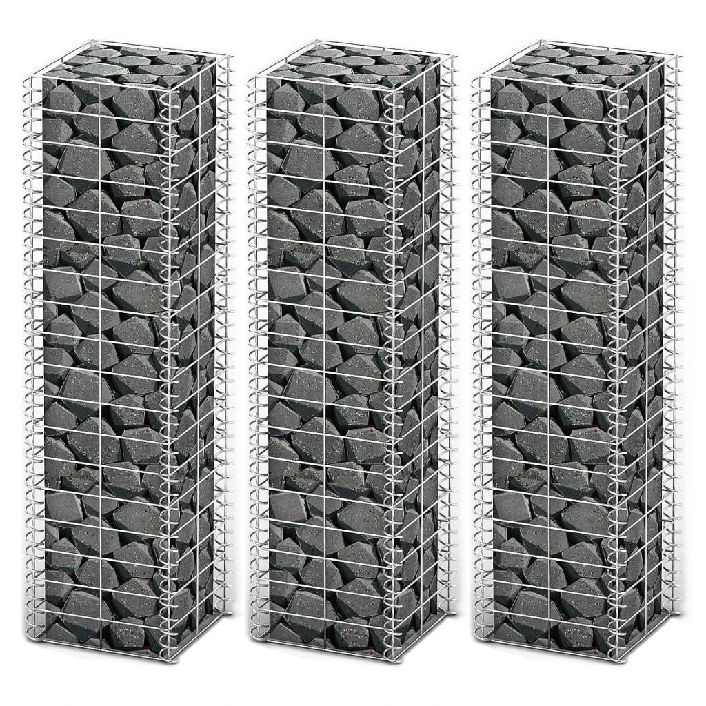 Gabion Set 3 pcs Galvanised Wire 25x25x100 cm Kings Warehouse