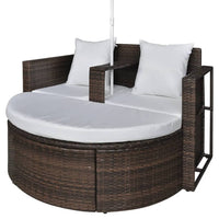 Garden Bed with Parasol Brown Poly Rattan Kings Warehouse