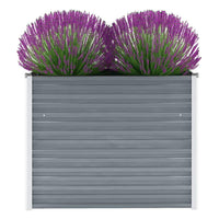 Garden Planter Galvanised Steel 100x40x77 cm Grey