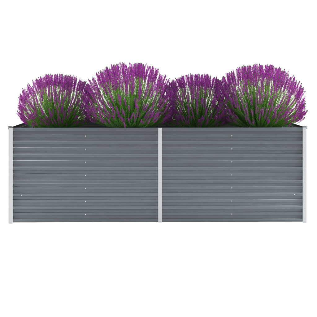 Garden Planter Galvanised Steel 240x80x77 cm Grey Kings Warehouse