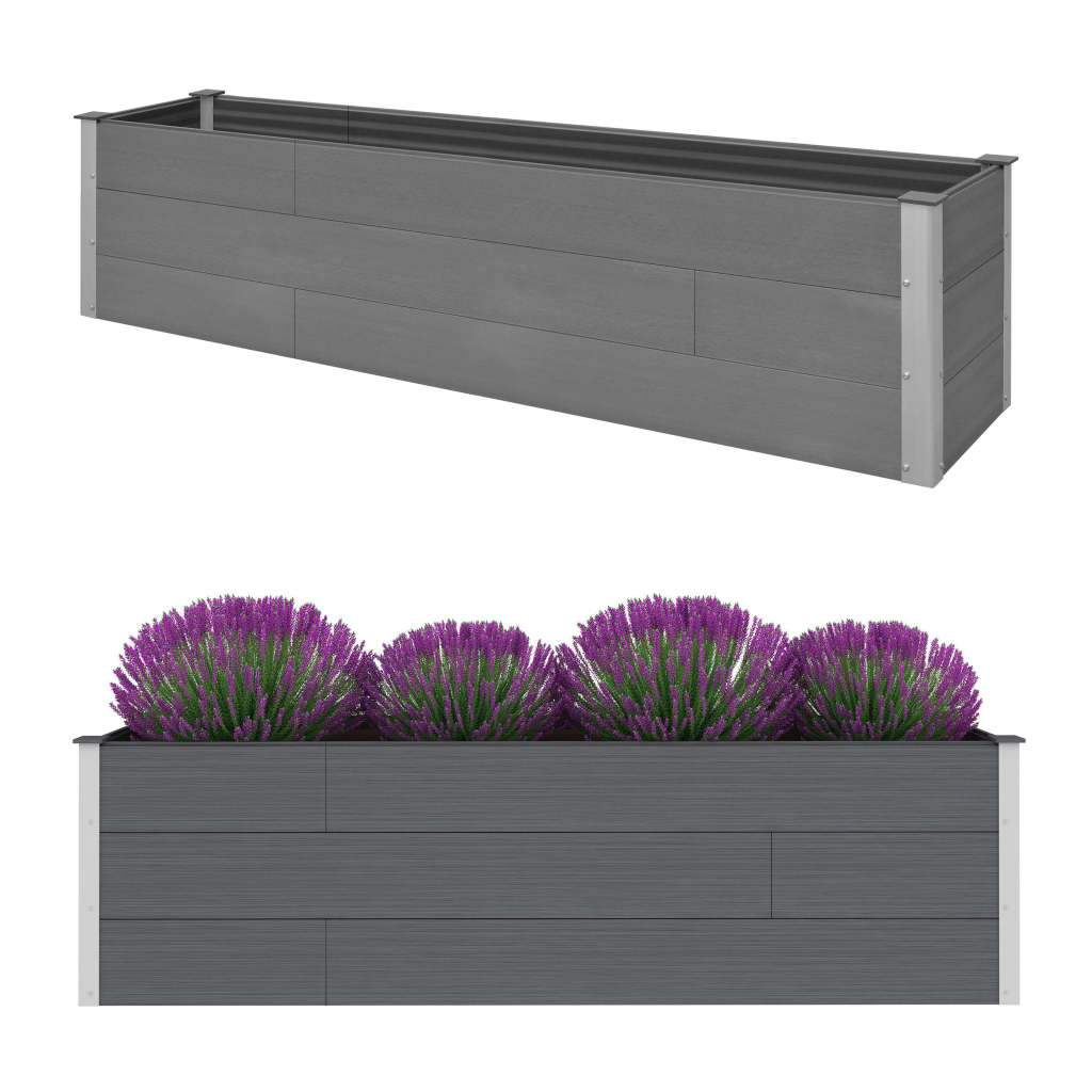 Garden Raised Bed Grey 200x50x54 cm WPC Kings Warehouse
