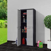 Garden Storage Cabinet with 3 Shelves Black and Grey Kings Warehouse