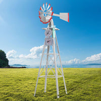 Garden Windmill 8FT 245cm Metal Ornaments Outdoor Decor Ornamental Wind Will Kings Warehouse