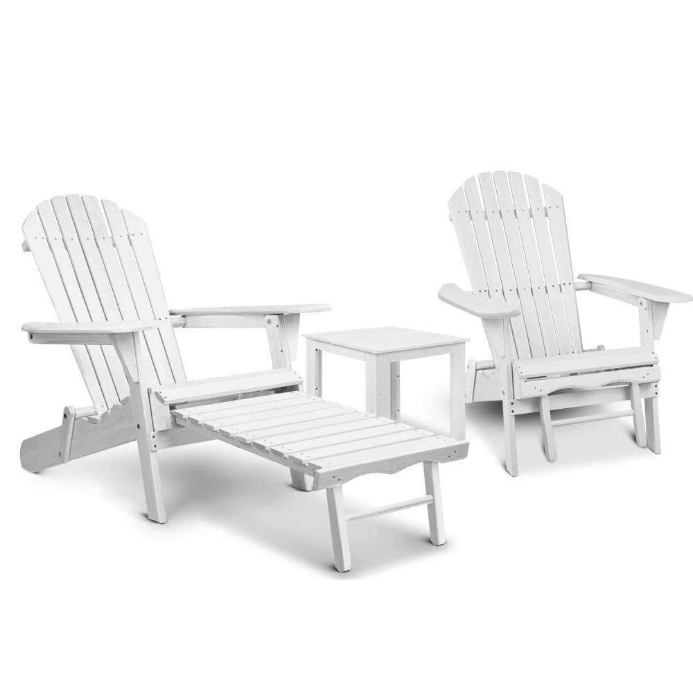Gardeon 3 Piece Outdoor Adirondack Lounge Beach Chair Set - White Kings Warehouse