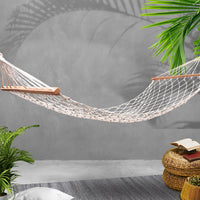 Gardeon Swing Hammock Bed Cream Hammocks Kings Warehouse