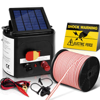 Giantz 3km Solar Electric Fence Energiser Charger with 400M Tape and 25pcs Insulators Kings Warehouse