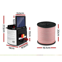 Giantz 5km Solar Electric Fence Energiser Charger with 400M Tape and 25pcs Insulators Kings Warehouse
