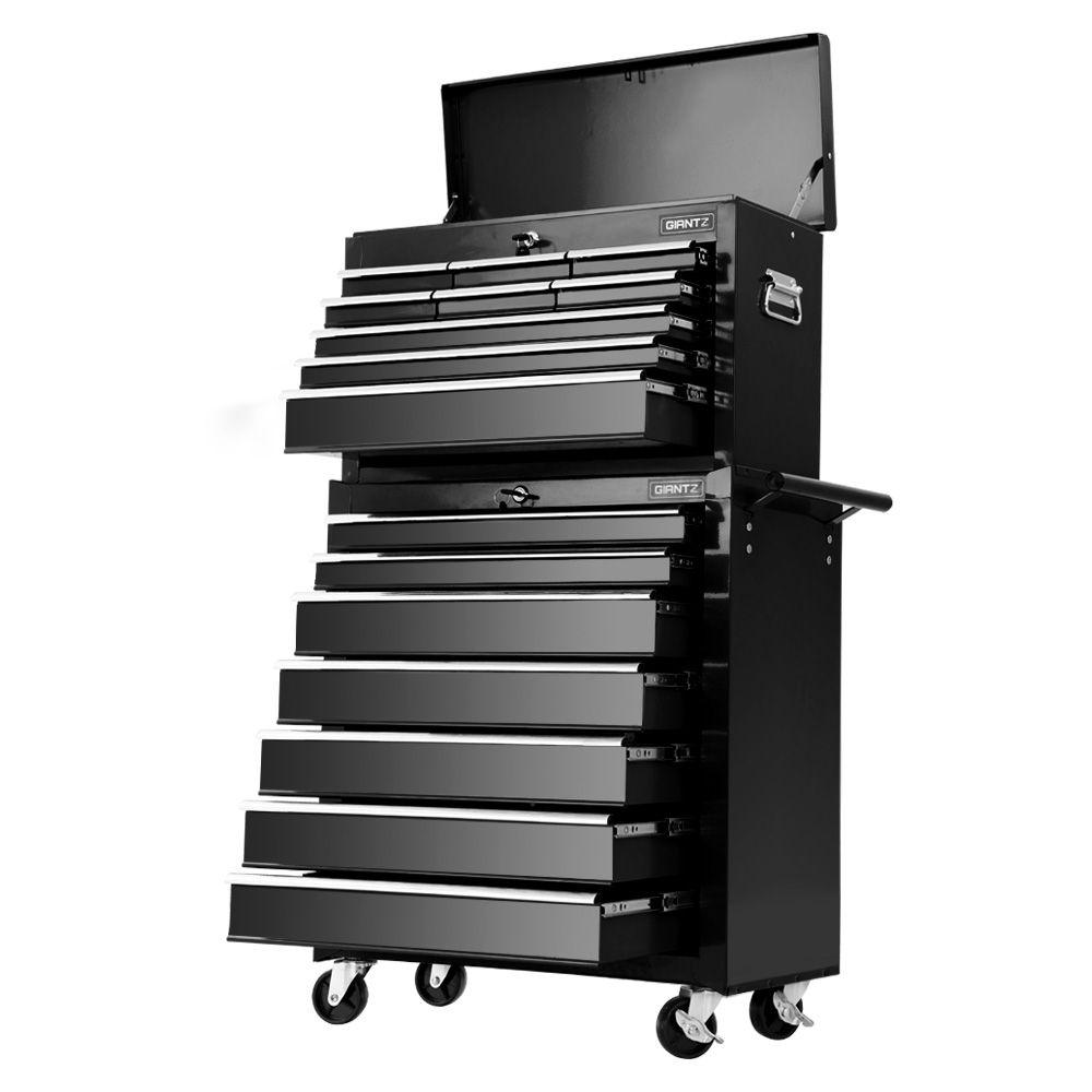 Giantz Tool Chest and Trolley Box Cabinet 16 Drawers Cart Garage Storage Black Tools Storage Kings Warehouse