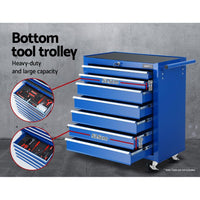 Giantz Tool Chest and Trolley Box Cabinet 16 Drawers Cart Garage Storage Blue Tools Storage Kings Warehouse