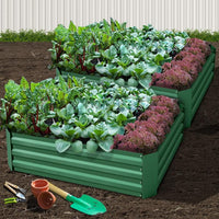 Green Fingers Set of 2 120 x 90cm Raised Garden Bed - Green Garden Beds Kings Warehouse