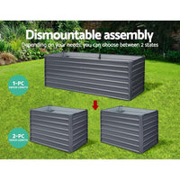 Greenfingers Garden Bed 240X80X77CM Galvanised Raised Steel Instant Planter 2N1 Garden Beds Kings Warehouse