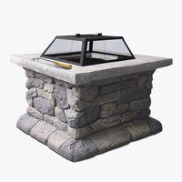Grillz Fire Pit Outdoor Table Charcoal Garden Fireplace Backyard Firepit Heater
