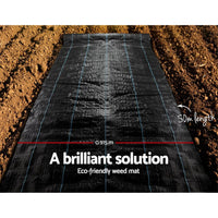 Instahut 0.915m x 50m Weedmat Weed Control Mat Woven Fabric Gardening Plant Farm Supplies Kings Warehouse