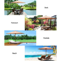 Instahut 2.7M Umbrella with Base Outdoor Pole Umbrellas Garden Stand Deck Beige Kings Warehouse