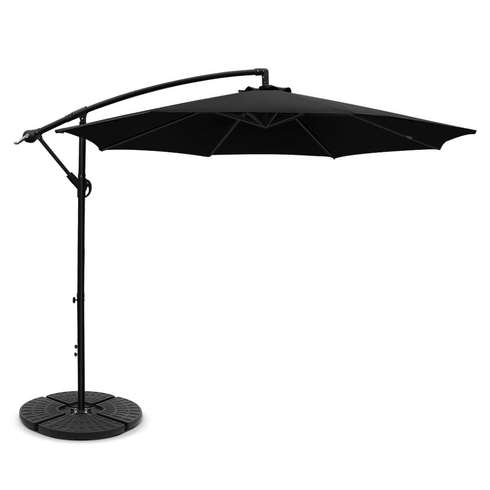 Instahut 3M Umbrella with 48x48cm Base Outdoor Umbrellas Cantilever Sun Beach Garden Patio Black Kings Warehouse