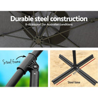 Instahut 3M Umbrella with 48x48cm Base Outdoor Umbrellas Cantilever Sun Beach Garden Patio Charcoal Kings Warehouse